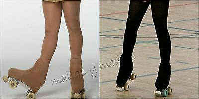 OVER THE BOOT ICE SKATE ROLLER SKATING TIGHTS 70 DEN 0854 TAN Or BLACK ALL SIZES • 9.99£