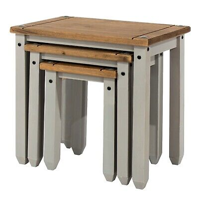 £77 • Buy Premium Corona Solid Pine Grey Washed Nest Of Three Occasional Tables