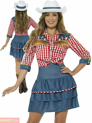£21.90 • Buy Ladies Cowgirl Costume Adult Rodeo Doll Fancy Dress Womens Western Cowboy Outfit