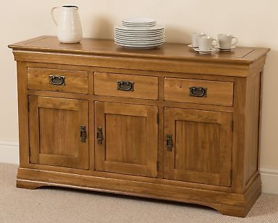 French Rustic Solid Oak Wood Large Sideboard Storage Cabinet Cupboard Furniture • 439£