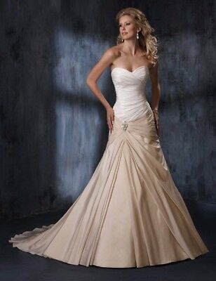 £300 • Buy Maggie Sottero Wedding Dress - Melissa Champagne And Ivory- Brooch
