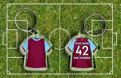 WEST HAM Football Shirt KEYRING, HAMMERS Fully Personalised Name & Number IRONS • 2.75£
