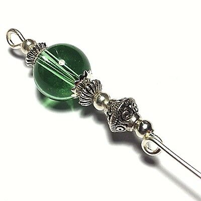 Silver Green Hat Pin Glass Tibetan Vintage Style Bead 5  Strong Pin & Protector • 5.70£
