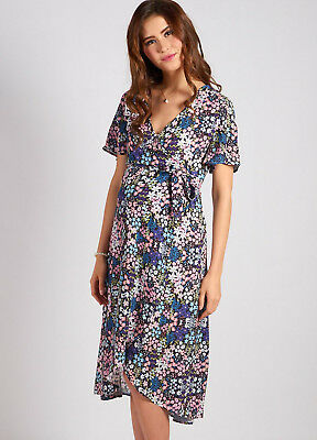 AU58.95 • Buy NEW - Mothercot - Blue Floral Wrap Maternity Dress - Maternity Dress