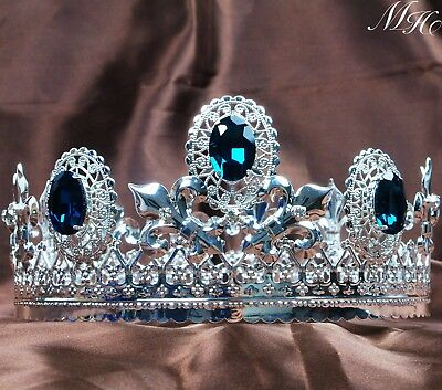 £29.35 • Buy Blue Crystal Men Crown Imperial Medieval Tiara Headband Pageant Party Costumes