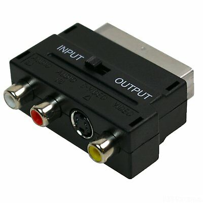 SCART To 3 RCA Composite Phono With SVHS S-Video Adaptor In / Out Switch • 2.49£