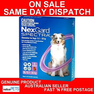 AU106.99 • Buy NexGard Spectra Chewables For Large Dogs Purple 15.1-30kg 6 Pack