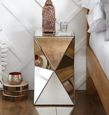 £109.99 • Buy DIAMOND Mirrored Mirror Bedside Bed Side Coffee Table Stand Living Room Bedroom