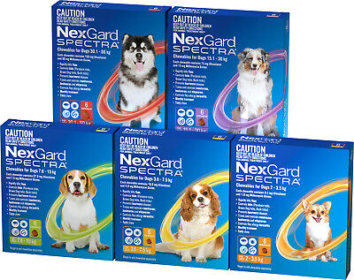AU109.89 • Buy NexGuard Spectra Chewables For Dogs 6 Pack All Sizes Chew