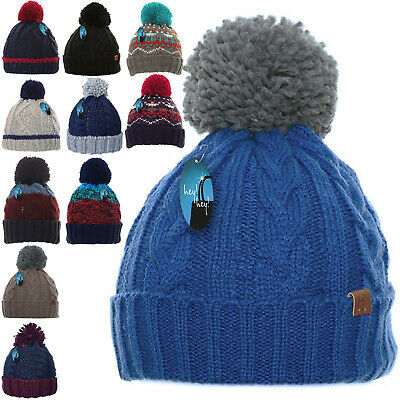 £12.99 • Buy Mens Winter Warm Woolly Bobble Knitted Ski Hat Chunky Thick Pom Beanie Fisherman