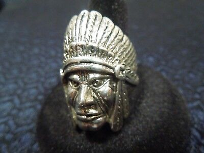 £70.28 • Buy Vintage Silver Plated  Classic  INDIAN CHIEF HEAD RING Sz 11