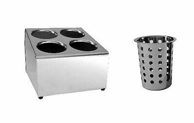 AU109.95 • Buy NEW Stainless Cutlery Holder W/ Caddy Basket Cylinder Utensils 4 Holes Square
