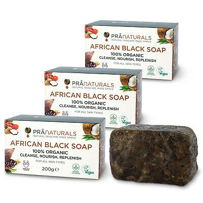 View Details PraNaturals Pack Of 3 Organic African Black Soap Face Body Anti-Ageing 200g Bar • 9.11£