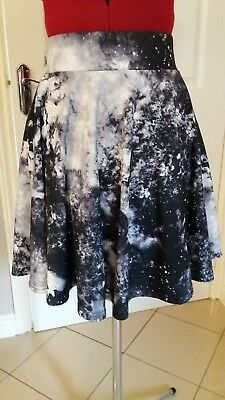 £17.90 • Buy Urban Outfitters Black/grey Galaxy Print Skater Skirt Size S