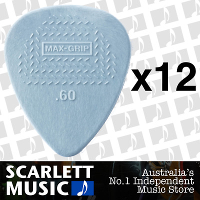 AU7.99 • Buy 12 X Jim Dunlop Max Grip Nylon 0.60mm .60 Gauge Grey Guitar Picks *TWELVE PICKS*