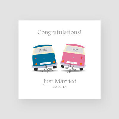 £3.45 • Buy Personalised Handmade Wedding Day Card - Mr & Mrs, Just Married, Campervan