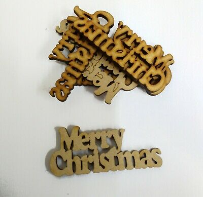 Wooden  MERRY CHRISTMAS Craft  Shapes, Laser Cut 3mm Mdf Embellishments • 2.85£