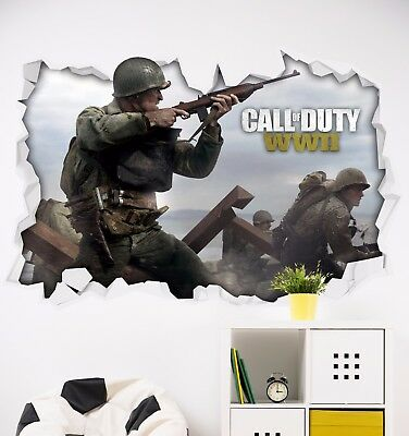 £9 • Buy Call Of Duty WW2 Beach Theme Sticker Wall Art Gaming COD Bedroom Mural Poster 3D