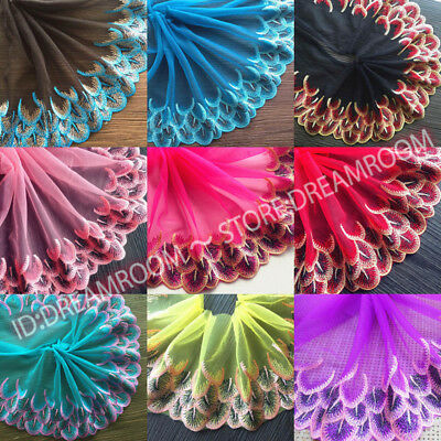 £3.13 • Buy BF82 Floral Tulle Lace Trim Ribbon Embroidery Feather Wedding Fabric Sewing DIY