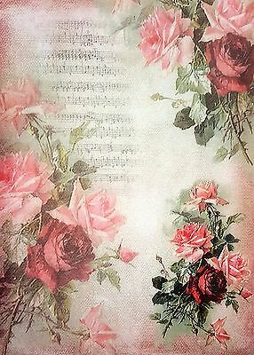 £1.99 • Buy  Rice Paper - For Decoupage - Sheet - Music And Roses  - Scrapbooking - Red