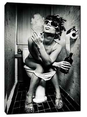 Girl In Toilet Drinking And Smoking Picture  Print On Framed  Canvas Wall Art • 14.49£