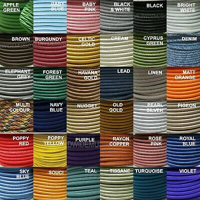 ROUND 2 Core 3 Amp Braided Fabric Cable Lighting Lamp Flex Vintage - 40+ Colours • 2£