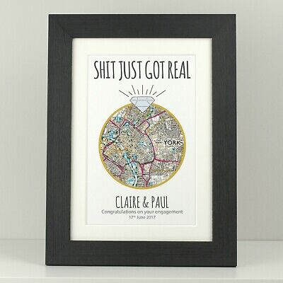 Engagement Gift Present / Personalised Engagement Ring OS Map Print VA113 • 5.49£