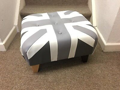 Shades Of Grey Footstool / Pouffe /small Union Jack Faux Leather  British Made • 109£
