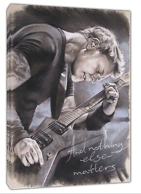 James Hetfield Metallica With Charcoal Soft Pastel Paint Print On Framed Canvas • 14.49£