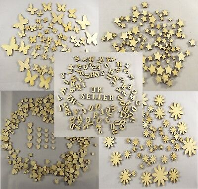 Wooden Shapes Hearts Stars Butterfly Flower Bunting Craft Embellishment Decorate • 2.85£