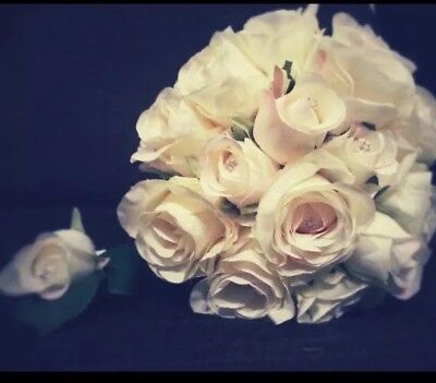 £29.99 • Buy Vintage Wedding Bridal Bouquet And Button Hole Ivory Roses