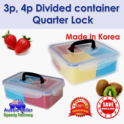 AU15.95 • Buy To 2pc Divided Plastic Food Storage Container Lunch Bento Box Microwave Safe