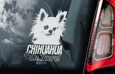 £2.99 • Buy CHIHUAHUA Car Sticker, Long Haired Dog Window Bumper Sign Decal Gift Pet - V05