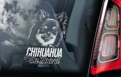 £2.99 • Buy CHIHUAHUA Car Sticker, Long Haired Dog Window Bumper Sign Decal Gift Pet - V06