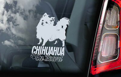 £2.99 • Buy CHIHUAHUA Car Sticker, Long Haired Dog Window Bumper Sign Decal Gift Pet - V07