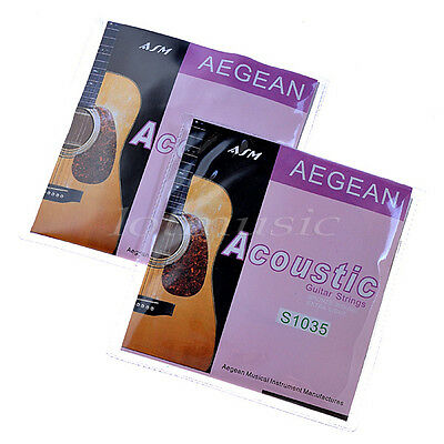 $ CDN11.99 • Buy 2 Sets Acoustic Guitar Strings Set Brass Wound Extra Light .010-.047 Inch