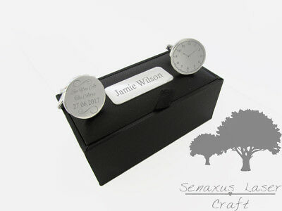 Engraved Round Silver Cuff Links & Personalised Gift Box Stag Party Sclr15 • 11.99£