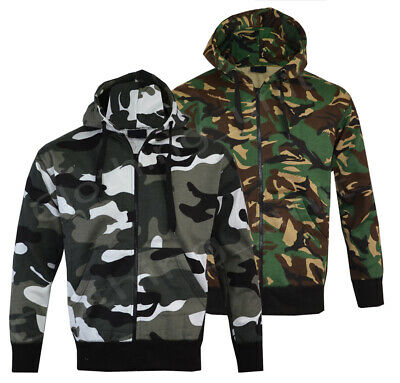 Mens Army Military Camo Camouflage Zip Hoodie Hooded Jacket Fishing S-XXL • 14.99£