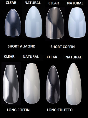 £3.75 • Buy Full Cover False Nail Tips - Natural Clear Stiletto Almond Display Coffin