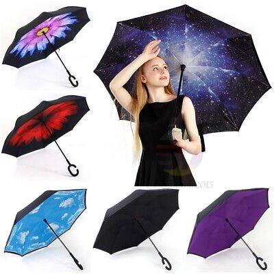 AU17.89 • Buy Windproof Upside Down Reverse Umbrella C-Handle Double Layer Inside-Out Inverted