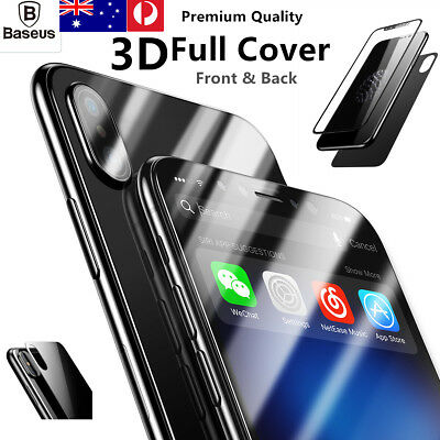 AU12.99 • Buy Baseus Front & Back Black 3D Tempered Glass Screen Protector For Apple Iphone XS