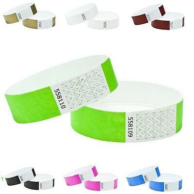 £3.49 • Buy Wristbands Tyvek 100 Pack Security Events ID Parties Crowd Control 19mm Numbered