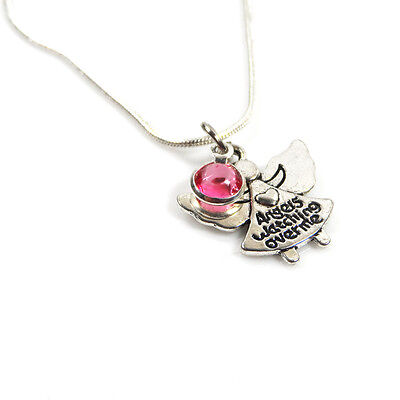 Silver Plated Angel Watching Over Me Birthstone Necklace – Free Delivery • 5.95£