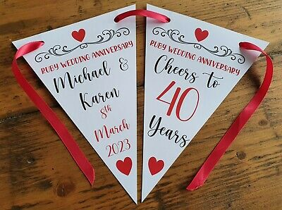 Personalised 40th Ruby Wedding Anniversary Party Bunting Banner Decoration • 4.99£