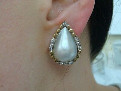 $750 • Buy Gorgeous 14k Yellow Gold Large Pear Shape Mabe Pearl Earrings With Diamonds