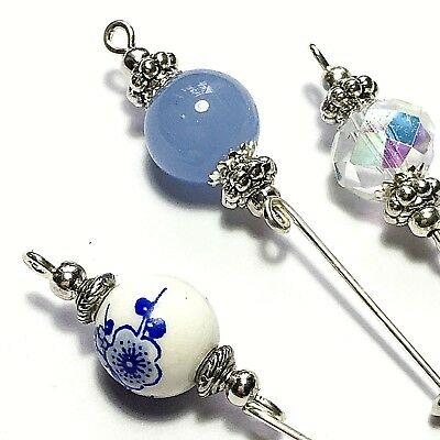 3 Silver Hat Pins Blue Crystal Glass Porcelain Vintage Style Pin + Protectors • 11.95£