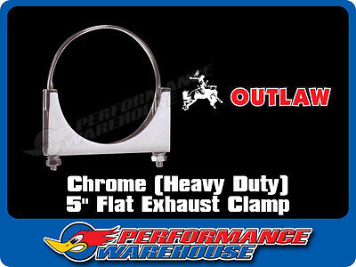 AU12.95 • Buy Chrome Plated Heavy Duty Steel 5 Inch Flat Exhaust Clamp Truck By Outlaw