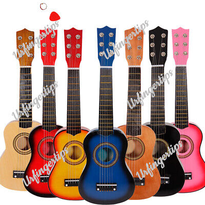 21  23  25  In Wooden Acoustic Children Guitar With Strings Pick • 13.59£