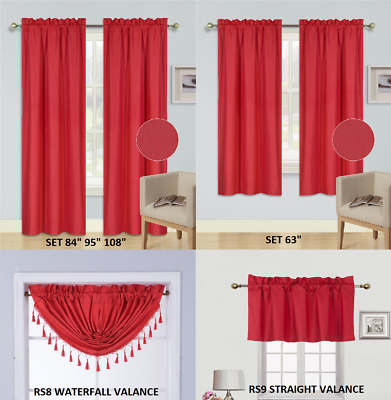 $7.25 • Buy Panels Or Valances Solid Blackout Rod Pocket Foam Lined Window Curtain Treatment