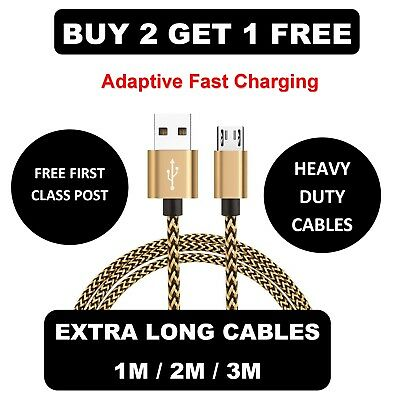 1M 2M 3M Long Micro USB Data Sync Charger Cable Lead For Samsung Android Phones • 2.98£